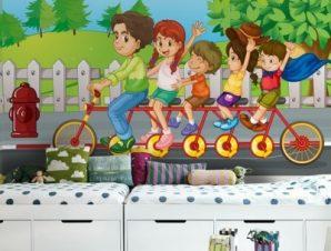Παιδάκια Με Ποδήλατο Παιδικά Ταπετσαρίες Τοίχου 100 x 100 εκ.