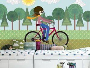 Κορίτσι με Ποδήλατο Παιδικά Ταπετσαρίες Τοίχου 100 x 100 εκ.