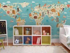 Παγκόσμιος Χάρτης με Ζώα Παιδικά Ταπετσαρίες Τοίχου 100 x 100 εκ.