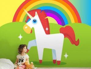 Μονόκερος σε ουράνιο τόξο Παιδικά Ταπετσαρίες Τοίχου 100 x 100 εκ.