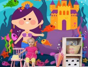 Μικρή χαρούμενη γοργόνα Παιδικά Ταπετσαρίες Τοίχου 100 x 100 εκ.