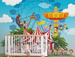 Παιδάκια Στο Τσίρκο Παιδικά Ταπετσαρίες Τοίχου 100 x 100 εκ.