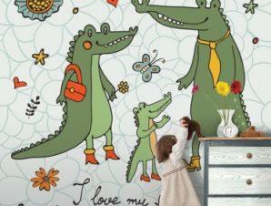 Oικογένεια Kροκοδείλων Παιδικά Ταπετσαρίες Τοίχου 100 x 100 cm