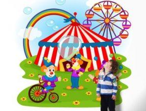Kλόουν και Tσίρκο Παιδικά Ταπετσαρίες Τοίχου 100 x 100 εκ.