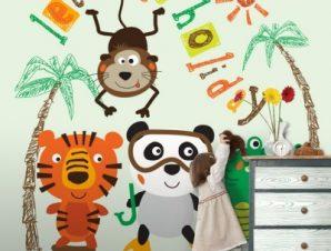 Ζωάκια σε διακοπές Παιδικά Ταπετσαρίες Τοίχου 100 x 100 εκ.