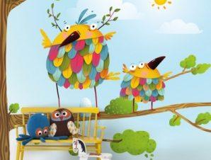 Αστεία πουλιά Παιδικά Ταπετσαρίες Τοίχου 100 x 100 εκ.