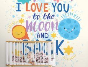 Φεγγάρι Παιδικά Ταπετσαρίες Τοίχου 100 x 100 cm
