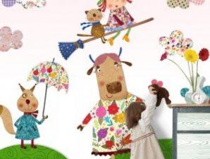 Αγελάδα και μάγισσα Παιδικά Ταπετσαρίες Τοίχου 100 x 100 εκ.