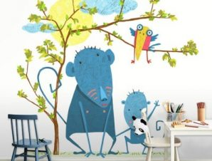 Μπλέ μαϊμουδάκια Παιδικά Ταπετσαρίες Τοίχου 100 x 100 εκ.