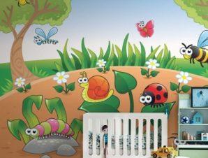 Έντομα στο δάσος Παιδικά Ταπετσαρίες Τοίχου 100 x 100 εκ.