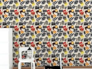 Ομοιογενές κινηματογραφικό μοτίβο Παιδικά Ταπετσαρίες Τοίχου 100 x 100 εκ.