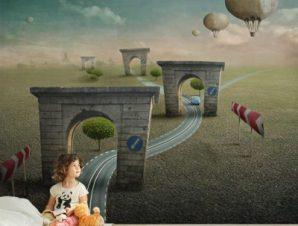 Παραμυθένια διαδρομή Παιδικά Ταπετσαρίες Τοίχου 100 x 100 εκ.