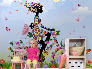 Κορίτσι με ποδήλατο στην εξοχή Παιδικά Ταπετσαρίες Τοίχου 100 x 100 εκ.