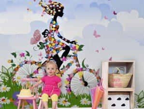 Κορίτσι με λουλούδια σε ποδήλατο Παιδικά Ταπετσαρίες Τοίχου 100 x 100 εκ.