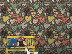Καρδούλες και λαγουδάκια Παιδικά Ταπετσαρίες Τοίχου 100 x 100 εκ.