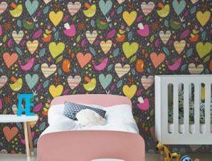 Πουλάκια και καρδούλες Παιδικά Ταπετσαρίες Τοίχου 100 x 100 εκ.