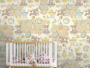 Μωρά αρκουδάκια Παιδικά Ταπετσαρίες Τοίχου 100 x 100 εκ.