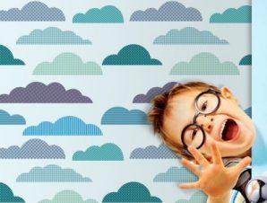 Συννεφάκια Παιδικά Ταπετσαρίες Τοίχου 100 x 100 εκ.