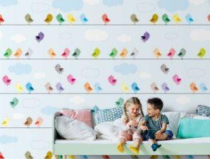 Πολύχρωμα πουλιά Παιδικά Ταπετσαρίες Τοίχου 117 x 90 cm
