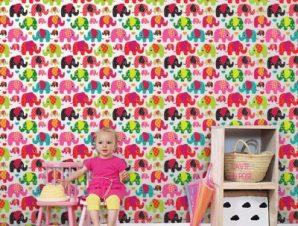 Χαρούμενα Ελεφαντάκια Παιδικά Ταπετσαρίες Τοίχου 100 x 100 εκ.