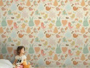 Πουλάκια και λαγουδάκι Παιδικά Ταπετσαρίες Τοίχου 100 x 100 εκ.