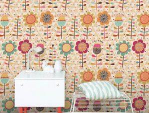 Πολύχρωμο λουλουδένιο μοτίβο Παιδικά Ταπετσαρίες Τοίχου 100 x 100 εκ.