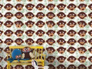 Μοτίβο με μαϊμούδες Παιδικά Ταπετσαρίες Τοίχου 100 x 100 εκ.