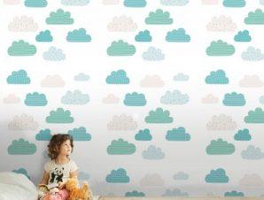 Μοτίβο με σύννεφα Παιδικά Ταπετσαρίες Τοίχου 100 x 100 cm