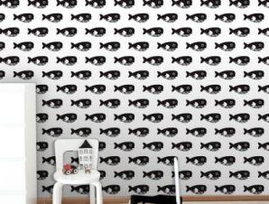Μαύρη Φάλαινα Παιδικά Ταπετσαρίες Τοίχου 100 x 100 εκ.