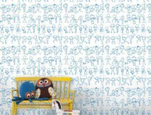 Σκίτσα ανθρωπάκια Παιδικά Ταπετσαρίες Τοίχου 100 x 100 εκ.