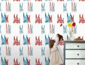 Μοτίβο με κουνελάκια Παιδικά Ταπετσαρίες Τοίχου 100 x 100 cm