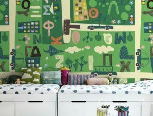Πράσινο παιδικό φόντο Παιδικά Ταπετσαρίες Τοίχου 100 x 100 εκ.