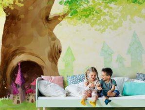 Δέντρο με τρύπα Παιδικά Ταπετσαρίες Τοίχου 100 x 100 εκ.