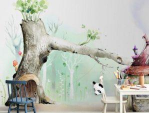 Παστέλ σπιτάκια Παιδικά Ταπετσαρίες Τοίχου 100 x 100 εκ.