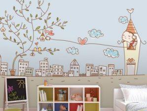 'Eνα χαριτωμένο χωριό ή πόλη Παιδικά Ταπετσαρίες Τοίχου 88 x 115 cm
