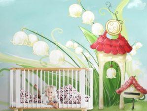 Σπίτια ξωτικών Παιδικά Ταπετσαρίες Τοίχου 100 x 100 εκ.